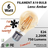 6W LED Filament Bulb 2200K Antique A19 Vintage Amber 750Lm E26 dimmable