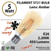 5W LED Filament Bulb 2200K Antique ST21 Vintage Amber 450Lm E26 dimmable