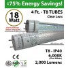 4ft 18w LED Tube Light 2000Lm T8 6000K Clear Lens Ballast Compatible
