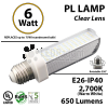 6W PL LED Bulb lamp 2700K E26 UL.  Direct Line (Remove Ballast)