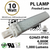10W PL LED Bulb lamp 1000Lm 4000K G24-d3 IP40 Frosted UL. Direct Line (Remove Ballast)