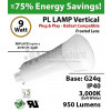9W PL LED Lamp 950Lm 3000K Frosted Lens G24q IP40 UL.  Ballast Compatible