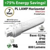 7W PL LED Lamp 800Lm 4000K Frosted Lens G24q IP40 UL. Direct Line (Remove Ballast)