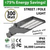 300W LED Street Light / Pole mount fixture 36000Lm 5000K UL IP65