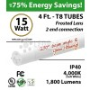 15W LED T8 Glass Tube Light 4000K Frosted Lens 1800 Lumens