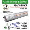 17 W LED T8 Glass Tube Light Frosted Lens 2200 Lumens 6000K Plug And Play UL DLC (1 case, 25 tubes)