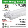 15W LED Tube light 4Ft T8 2200Lm 4000K Frosted 2 End - Hybrid (Line or Instant Start ballast)