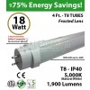 4ft LED Tube Light 18w 1900Lm T8 5000K Frosted Ballast Compatible