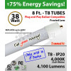 8Ft LED Tubes 38W Plug & Play 4200 Lm 4000K GLASS (Sell in 6 Packs)