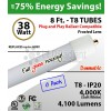 8Ft LED Tubes 38W GLASS Plug&Play T8 4200 Lm 4000K Frosted (6 Pack)