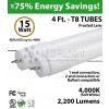 15W LED Tube 4Ft 2200Lm 4000K Frosted 1, 2 end or Ballast compatible