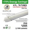4ft 18w LED Tube Light 2100Lm T8 4000K Clear Lens Ballast Compatible