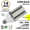 14W LED Corn Bulb Lamp, 1800Lm, 2300K, IP64, E26, UL