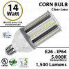 150w LED Replacement Bulb 14 Watt Corn Cob 5000K 1500Lm