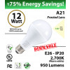 A21 12W  2700K 950 Lm E26 Frosted dimmable