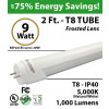 2ft 9 Watt LED Tube Light Bulb 1000Lm T8 5000-5500K Frosted Lens