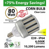 80w LED Corn Cob Light Bulb 10200 Lumens 350 Watt Replacement