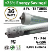 8ft LED T8 Tube 36W 4000Lm 6000K IP40 Clear Lens