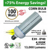 400 Watt LED Replacement Light 100w Corn Bulb 13000Lm 5000K