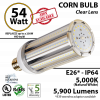300w Equivalent 54w LED Corn Bulb Lamp 5900Lm 5000K