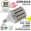 80 Watt LED Corn cob Bulb 350w Replacement Light 5000K daylight lamp