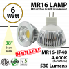 6W LED MR16 Lamp 4000K 530Lm IP40