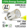 27 Watt LED Corn Bulb 3,500 Lm 5,000K IP64 Edison E39* Mogul Base UL