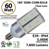 60W LED 180° Semi Corn E39 7800 Lumens 5000K