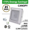 45W LED Canopy Light Ceiling Mount 5300 Lm 5000K DLC IP65 UL