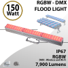 DMX Flood Light 150W RGBW 8000 lumens white IP67