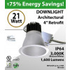 21W LED 4in Architectural Downlight Retrofit 1600Lm 3000K dimmable