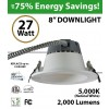 27W LED 8 inch Downlight Architectural Trim 2000 Lm Dimmable 5000K