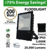 200 Watt LED floodlight 20000Lm 900w Equivalent 5000K DLC UL
