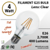 4W LED Filament Bulb 2700K Antique Vintage Clear 400 Lm E26 dimmable