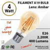 4W LED Filament Bulb 2200K Antique A19 Vintage Amber 400Lm E26 dimmable