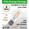 4W LED Filament Bulb 2700K Antique A19 Vintage Clear 450Lm E26 dimmabl
