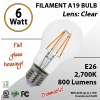 6W LED Filament Bulb 2700K Antique A19 Vintage Clear 800Lm E26 dimmable