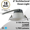 LED Downlight Architectural Trim 6inch 18W 1700Lm Dimmable 4000K