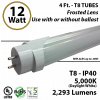 LED Tube Light 2293Lm T8 5000K 12W Frosted Plug & Play or direct connect