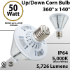 LED Corn Bulb 50W 5726Lm 5000K UP or DOWN E39 IP64 UL