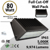 LED Wal Pack Lights Full Cut-Off 80W 9974 Lm DLC 5000K
