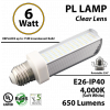 6W PL LED Bulb lamp, 650Lm, 4000K, E26, IP40, UL. (Rotatable 350 Degrees).  Direct Line (Remove Ballast)