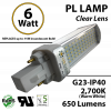 6W PL LED Bulb lamp 650Lm 2700K G23 IP40 UL. Direct Line (Remove Ballast)