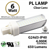 6W PL LED Bulb lamp 650Lm 4000K G24-d3 IP40 UL. Direct Line (Remove Ballast)