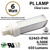 6W PL LED Bulb lamp 650Lm 6500K G24-d3 IP40 UL. Direct Line (Remove Ballast)