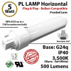 5W PL LED Lamp 500Lm 3500K Frosted Lens G24q IP40 UL. Ballast compatible