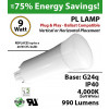 9W PL LED Lamp 990Lm 4000K Frosted Lens G24q IP40 UL.  Ballast Compatible