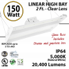 2ft LED Linear High Bay Fixture 150W 20400 Lumens 5000K UL DLC