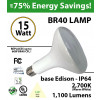 15Watts BR40 Lamp 5000K 1100Lm Frosted Lens UL. 120° Beam Angle. BASE: Edison