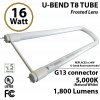 16W U-bend LED PLASTIC Tube 5000K Frosted By-pass ballast UL 1800 Lm